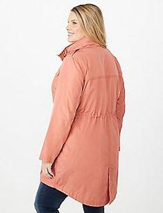 5e78d435bcc3d Plus Size High-Low Button Up Anorak Jacket - alternate image