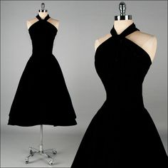 Vintage 1950s Dress . Black Velvet . Halter . Full Skirt