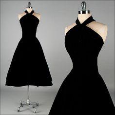 Vintage 1950s Dress . Black Velvet . Halter . Full Skirt