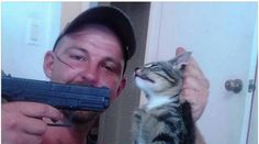 The Animal Welfare League in Port Charlotte Florida is investigating this photo of Thomas Mcguinness of Port Charlotte pointing the gun at a cat as a possible case of animal cruelty. Horrible People, Believe, Stop Animal Cruelty, Save Animals, Man Photo, Animal Rights, Animal Rescue, Hold On, Florida