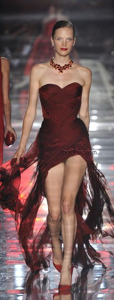 Alexandre Vauthier Fall Winter 2011 - 2012 Haute Couture Dark Red Evening Wear