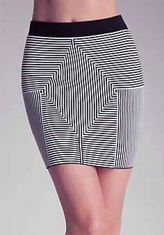 Shop bebe for: Bottoms - Mitre Stripe Skirt - Trippy, sexy, cool. This diamond print is figure enhancing with a banded waist and a stretch fit. Style with knee-highs for an ultra skinny work of walking art, your night out has just been upgraded. 30th Birthday Outfit, Stripe Skirt, Dress To Impress, Cool Style, Mini Skirts, Stripes, Outfits, Black, Dresses