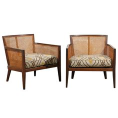Beautiful Pair of Walnut and Cane Lounge/Club Chairs by Harvey Probber | From a unique collection of antique and modern club chairs at http://www.1stdibs.com/furniture/seating/club-chairs/