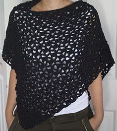 Quick and easy crocheted poncho, with a bit of a boho vibe to it. Instructions given for both adult and child sizes in the pattern.: