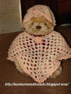 Poncho y Gorro a crochet /baby hat & poncho