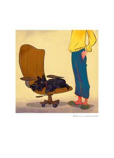 Scottie on an armchair digital print by GROOVYart on Etsy, $40.00