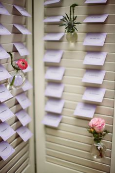 Shutters for escort cards. If the shutters were red i would LOVE! =)