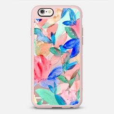 Watercolor Floral Leaves - New Standard Case in Pink Gray and Clear by Jenmanship | @casetify