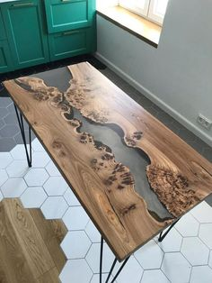 Epoxy table Epoxy resin table Live edge table C liveedgetisch - Marble Table Coffee Table To Dining Table, Table Cafe, Live Edge Tisch, Live Edge Table, Live Edge Furniture, Resin Furniture, Tree Furniture, Epoxy Wood Table, Wooden Tables
