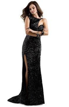 Black sequined long dress with cut-outs   Flirt #flirtprom #lbd #prom #dress