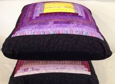Purple quilted pillow. Geometric accent pillow. by AnnBrauer.