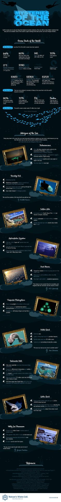 An infographic that uncovers some of the most unusual and enigmatic ocean creatures and phenomena: frilled sharks; underwater falls, etc. Mysteries Of The World, Ocean Depth, Marine Biology, Ocean Creatures, Shark Week, Sea And Ocean, Underwater World, Earth Science, Ocean Life