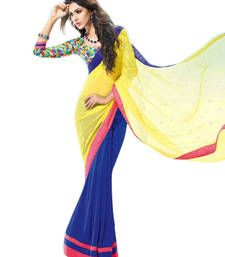 Buy Yellow and Blue printed georgette saree with blouse georgette-saree online