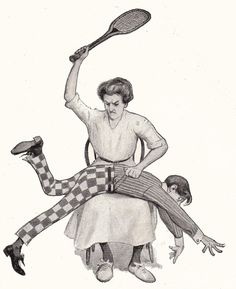 Cobb: Sport, from Cobb's Bill of Fare, illustrated by Peter Newell, James Preston. Victorian Women, Victorian Era, Getting Spanked, Spanking Art, Female Supremacy, Pulp Art, Disney Fan Art, Old Pictures, Peace And Love