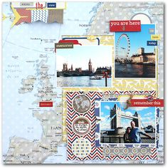 Lovely layout of western-Europe. I love maps for background. Not much room for journalling though, which to me is essential in a travel album. This would make a great title page. Emmas Paperie