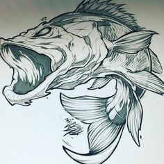 WIP for a new client #fishing #apparel #tshirt #tattoo #art #fish #bass #design #illustration