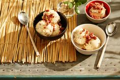 Malteser ice-cream with candied bacon