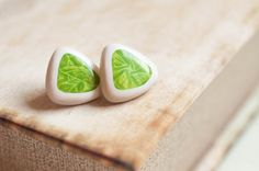Triangle Posts  Green Leaf Studs  Lime Post Earrings by yarnNclay, $30.00