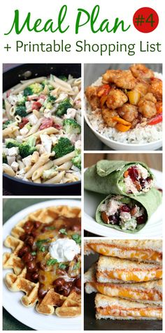 Weekly Meal Plan and printable shopping list! The hardest part of meal planning is coming up with meal ideas, so I've done the work for you! 5 easy, homemade family-friendly dinners.
