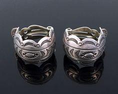 NAVAJO HAND STAMPED STERLING SILVER HOOP EARRINGS by JOE DELGARITO