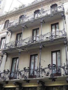 Liberty wrought iron balcony (detail), Casa Ferrario, via Spadari in Milano (Italy)