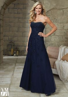 Evening Gown 71213 Lace Appliques on Net with Beaded Trim