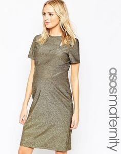 ASOS Maternity Cut Out Bodycon Dress In Metallic Lurex