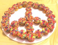 tie dye cupcakes made into a peace sign. Lora Jean, I love this idea!!!!!!