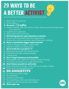 activist...not slacktivist.  do something.