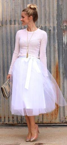 White Tulle Ballerina Midi A-skirt
