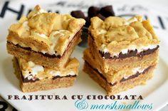 prajitura cu ciocolata si marshmallows Breakfast Cake, Fondue, Eat Cake, Tiramisu, Biscuit, Marshmallows, Pie, Sweets, Candy