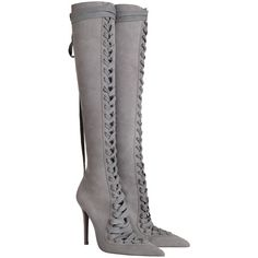 ZIMMERMANN Lace Up Long Boot (11 205 SEK) ❤ liked on Polyvore featuring shoes, boots, over-the-knee boots, knee high heel boots, pointed-toe boots, knee-high lace-up boots, high heel boots and leather boots