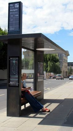 Great example of how high a streetcar/ busstop sign could be- and how a simple design is effective/ easy to read and understand... Bus stop, City of Bath - Design PearsonLloyd                                                                                                                                                                                 More