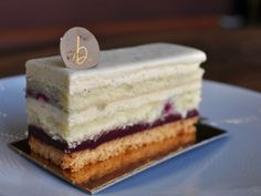B. Patisserie, San Francisco | Lemon sable breton is layered with marscapone cream and cassis ganache, and finished with a vanilla-lemon glaçage.