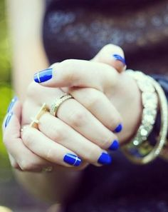 #cobalt #blue #metallic #notd #notw #nails #manicure #gold