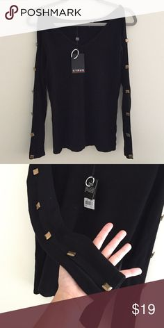 NWT open shoulder studded sweater NWT brand new, never worn cut out, open shoulder black sweater. Adorable edgy slits with studs along the arms. Brand is Cyrus Nordstrom Tops Tees - Long Sleeve