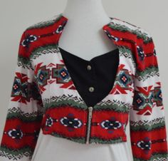 Roughrider Circle T Medium Western Shirt Red Cowgirl Long Sleeve Crop Top Zipper Rodeo Blouse