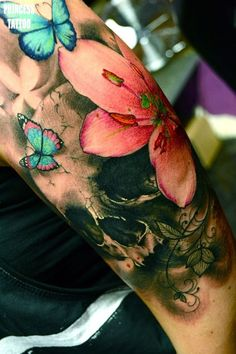 butterfly with flower tattoo - 50 Butterfly tattoos with flowers for women   <3