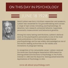 18th June 1928. David Lykken was born. A brilliant researcher and academic, Lykken was renowned for his groundbreaking work across a range of topic areas; including, psychophysiology, lie detection, twin research, antisocial behavior, happiness, personality measurement and behavioral genetics. #psychology #HistoryOfPsychology #PolygraphTesting #psychopathy