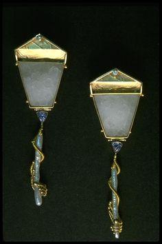 Earrings by Barbara Patrick $5,500.00  (Look like lamp posts)