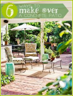 6 Ways to Make Over a Concrete Patio | Tipsaholic.com #backyard #entertaining #decorating