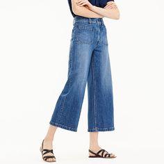 women's petite point sur wide-leg crop jean in blue - women's denim