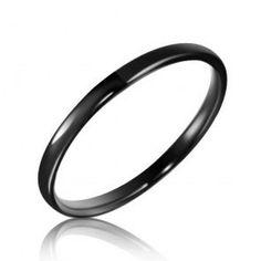 2mm Tungsten Black Unisex Ring, $279.98