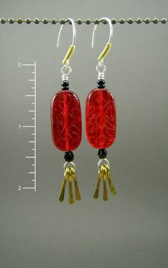 Brass Earrings Red and Black Earrings Red by something2magpie
