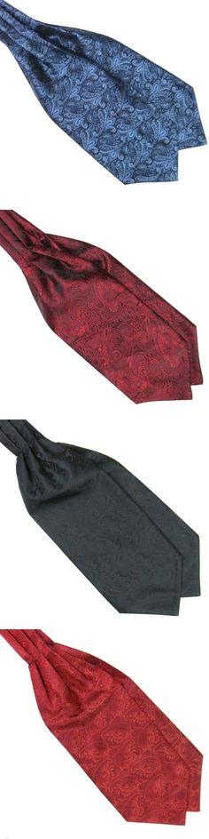 Men Neck Tie Solid Neck Accessories Paisley Gentlemen Silk Cravat Ascot Ties Handkerchief