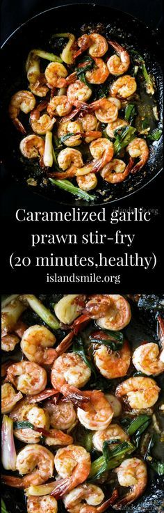 20 minutes- caramelized garlic prawn stir-fry, a Vietnamese inspired seafood dish made with a light and delicate touch to keep all the flavors locked in. #recipe #cooking #easy #20minute #prawn #stirfry #food #glutenfree #lowcarb #dinner