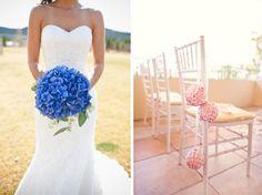 blue hydrangea wedding bouquet and pink hydrangeas