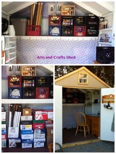 Shed Organization, milk crates are a must have Shed Organization, Shed Storage, Craft Shed, Man Shed, Clutter Solutions, Garage Shed, Milk Crates, Building A Shed, Shed Plans