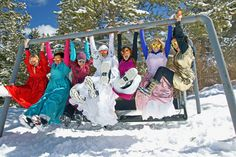 Snow bunny bachelorette party with 80s bridesmaid dresses