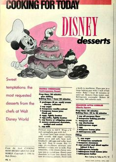 7 Disney Desserts from Sweet temptations the most requested desserts from the chefs at Walt Disney World. Retro Recipes, Old Recipes, Vintage Recipes, Sweet Recipes, Baking Recipes, Vintage Food, Blender Recipes, Vintage Table, Sweets
